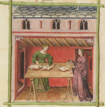 tacuinum-sanitatis-germania-xv-sec-bnf-paris-ms-lat-9333-fol-77v-preparazione-pollame-volatili